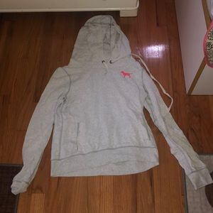 PINK light gray pull over hoodie
